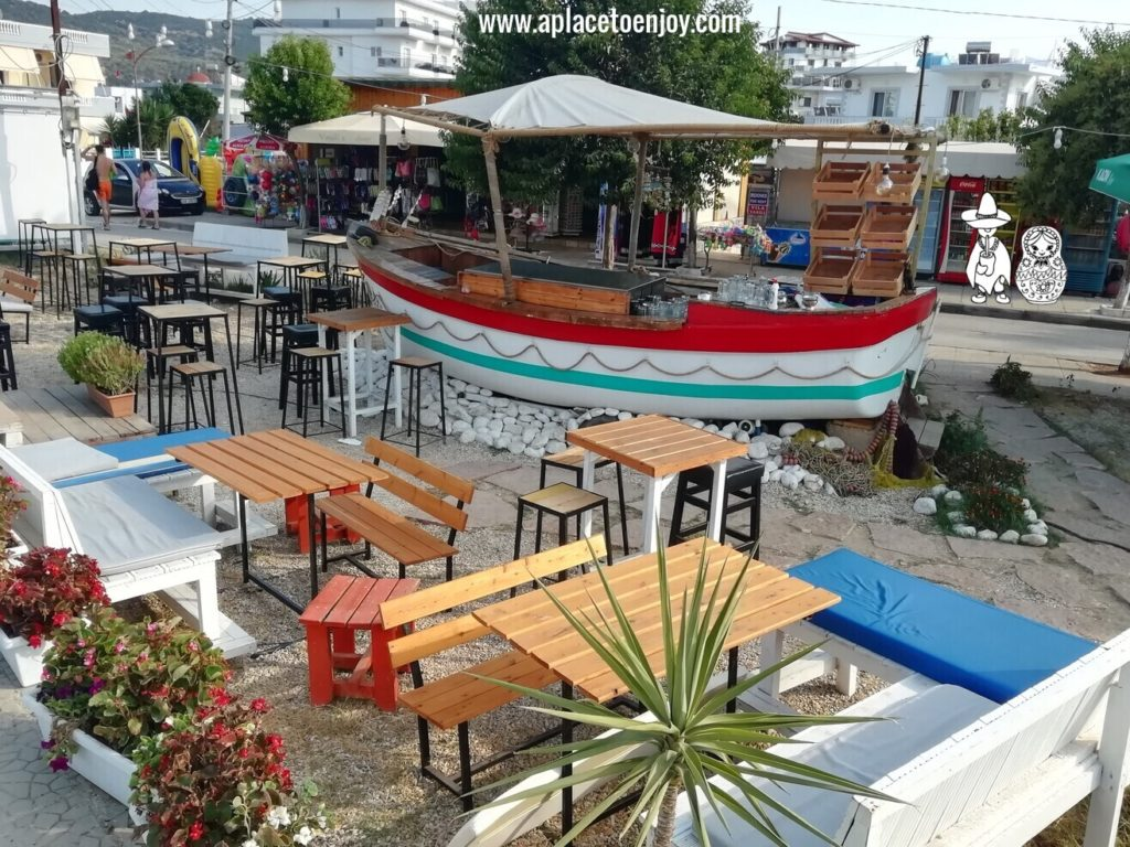 A boat used as a bar