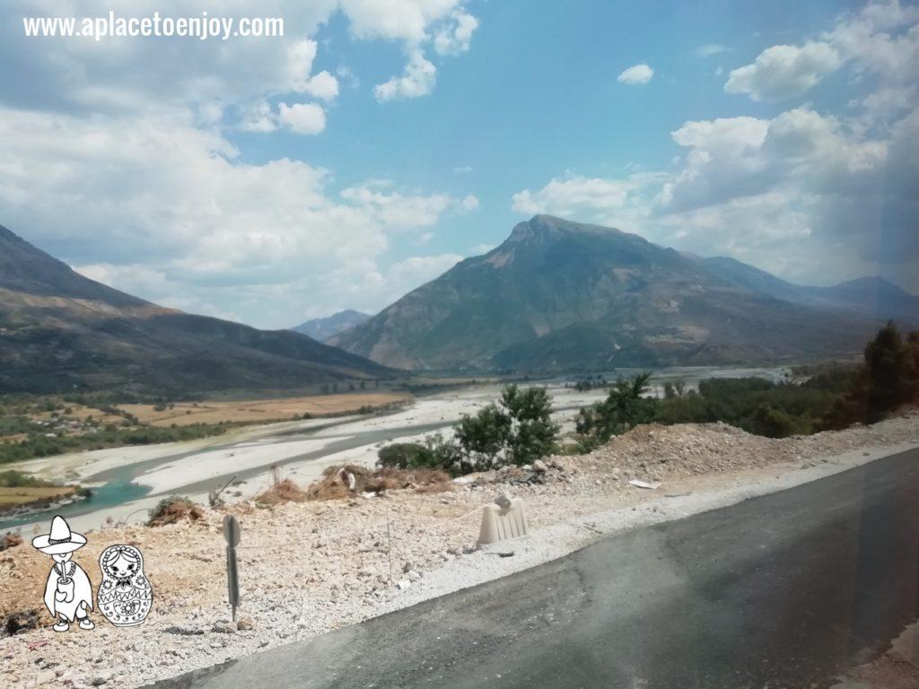 View on the mountain on the way from Tirana to Ksamil Albania