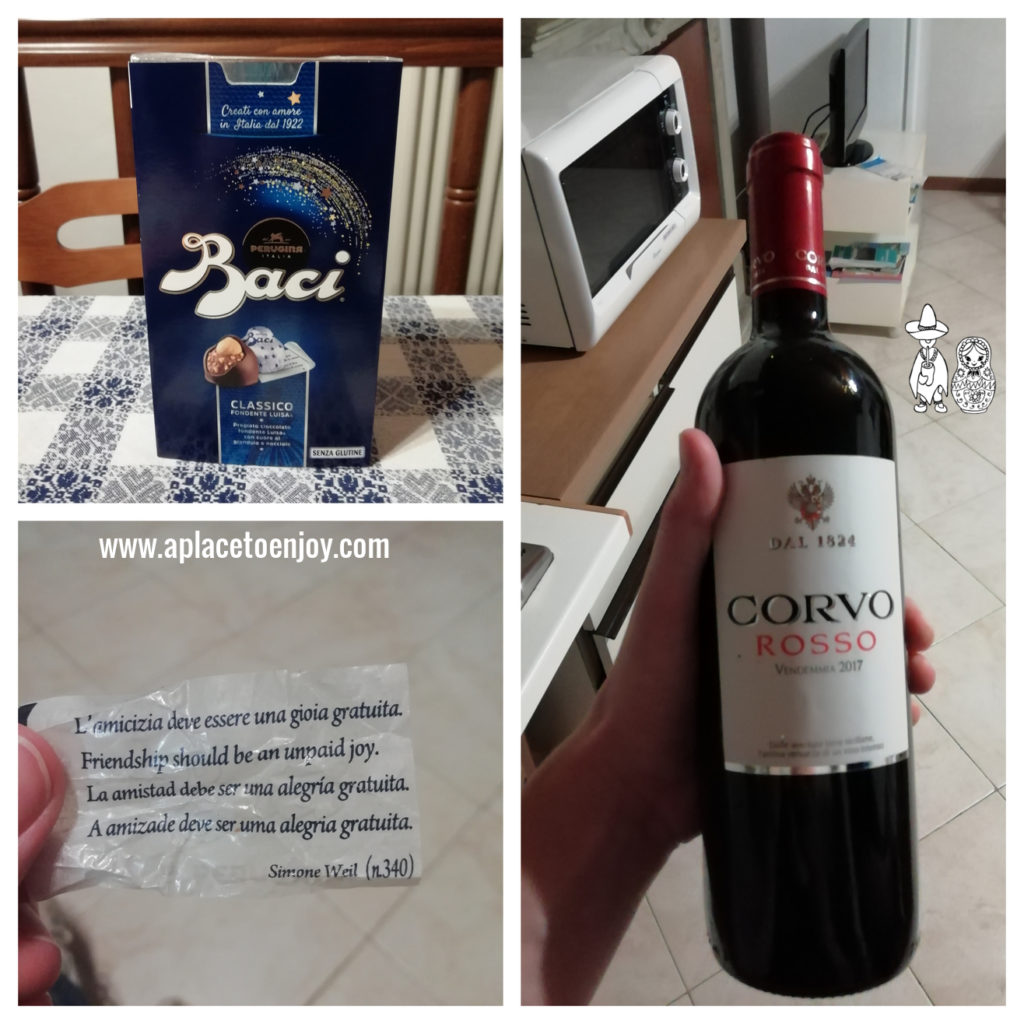 Compliment from the host: wine and chocolate with nice quotes