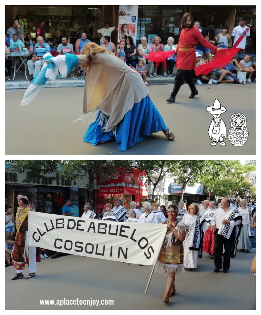 """Up: Russian dancers, down: dance club """"Granparents of Cosquin"""""""