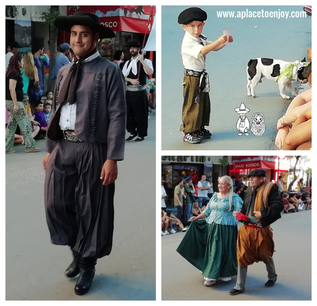 Beautiful costumes of gauchos and fabulous traditional dresses of women. Parade of Cosquin 2019